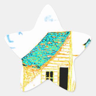 Bruka platsen med skjulet, träd och birdhousen stjärnformat klistermärke