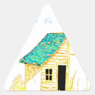 Bruka platsen med skjulet, träd och birdhousen triangelformat klistermärke