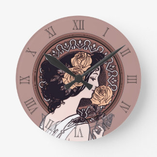 Brun art nouveau för orange medium rund klocka