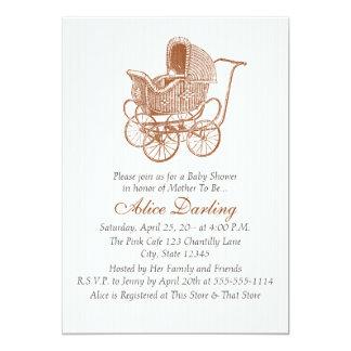 Brun barnvagnbaby shower för vintage 12,7 x 17,8 cm inbjudningskort