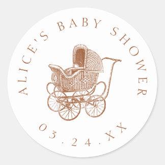 Brun barnvagnbaby shower för vintage runt klistermärke