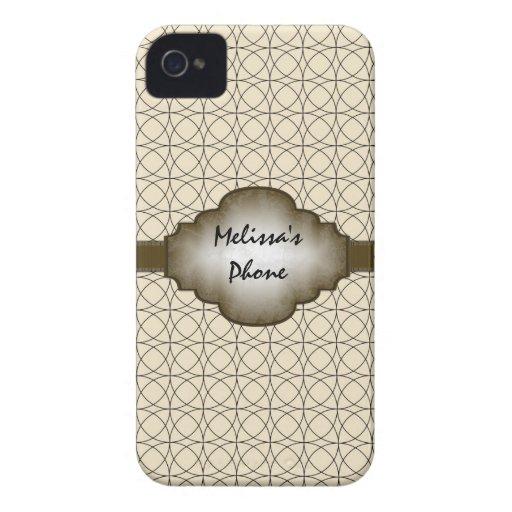 Brun & beige vintage cirklar det mobila fodral för Case-Mate iPhone 4 fodraler