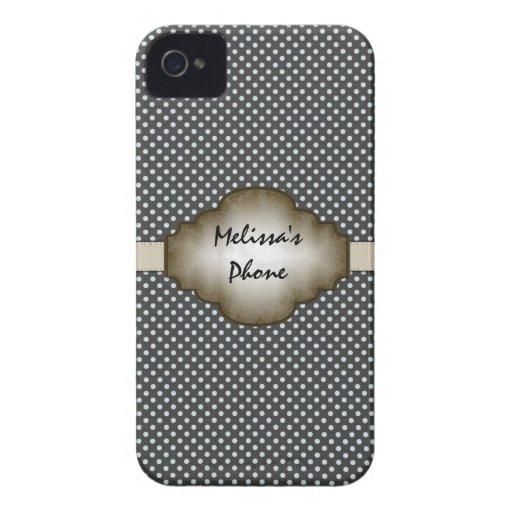 Brun & beige vintage pricker det mobila fodral för Case-Mate iPhone 4 skal