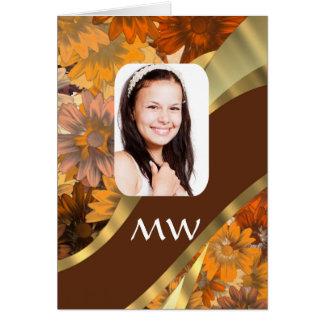 Brun blom- fotomall hälsningskort