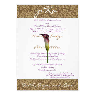 Brun damastast gifta sig Inv. 12,7 X 17,8 Cm Inbjudningskort