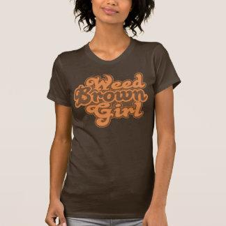 Brun flicka för ogräs tee shirt