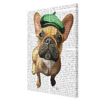 Brun fransk bulldogg med den gröna hatten canvastryck