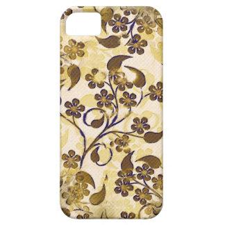 Brun guld- blom- Fodral-Kompis för vintage iPhone iPhone 5 Cover