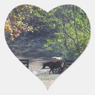 Brun häst som går till och med staket hjärtformat klistermärke
