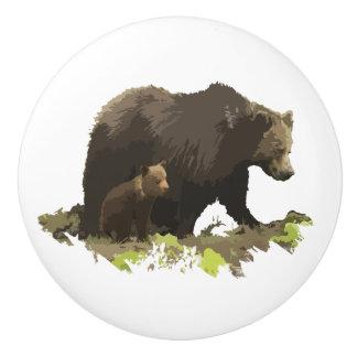Brun konst för natur för björn- och ungedjurliv poslin handtag