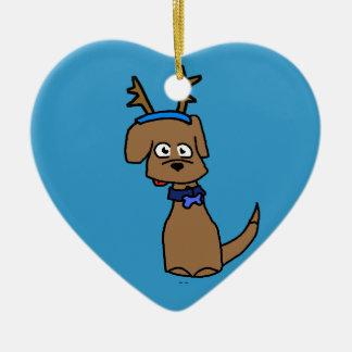 Brun Labrador ren Hjärtformad Julgransprydnad I Keramik