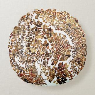 brun mosaik rund kudde