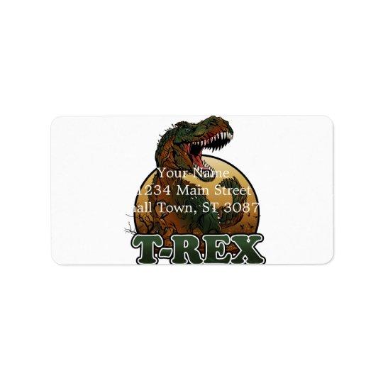 brun och grön illustration för enorm t-rex adressetikett
