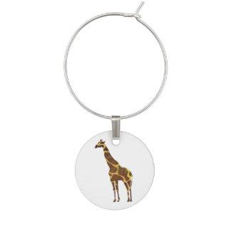 Brun och gul Silhouette för giraff Berlock Vinglas