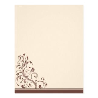 Brun och kräm- blom- bröllopbrevpapper brevhuvud