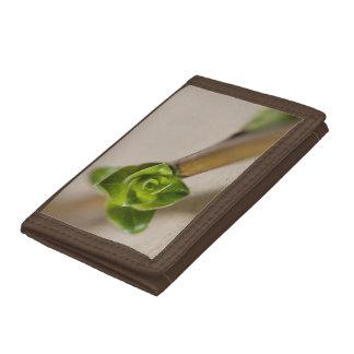 Brun plånbok med den gröna blommablommar