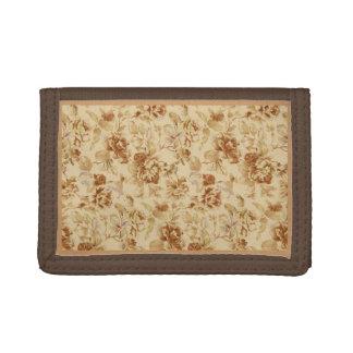 Brun plånbok med guld- vintageblommor