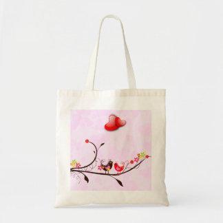 Brun & röd valentineslove birds för gulliga rosor tote bag