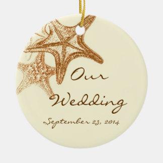 Brun Seastar bröllopornamanet Julgransprydnad Keramik