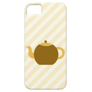 Brun tekannabild på beige Stripes. iPhone 5 Case-Mate Skal