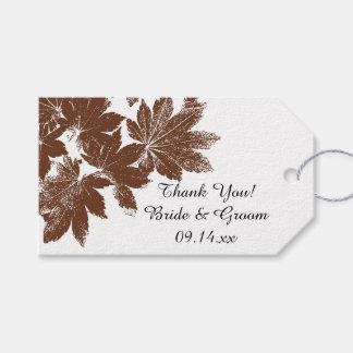 Bruna märkre för favör för tack för bröllop för presentetikett