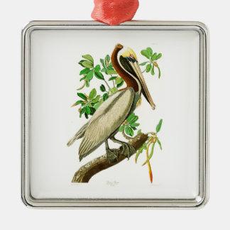 Bruna pelikanJohn James Audubon fåglar av Amerika Silverfärgad Fyrkantigt Julgransprydnad
