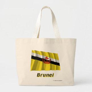 Brunei som vinkar flagga med namn kasse