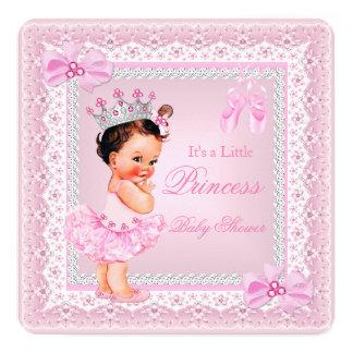 Brunett för Ballerina för flicka för Princess baby Fyrkantigt 13,3 Cm Inbjudningskort