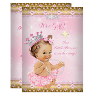 Brunett för Tiara för rosa Tutu för Princess baby 12,7 X 17,8 Cm Inbjudningskort