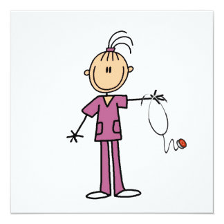 Brunettstick figursjuksköterska fyrkantigt 13,3 cm inbjudningskort