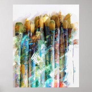 Brunn använda konstnärPaintbrushes Poster