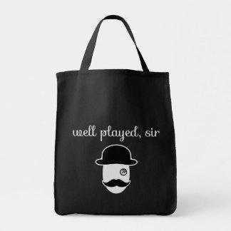 brunn lekt herr med monoclen och moustachen tygkasse