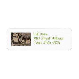 Brunstig noshörning returadress etikett