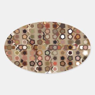 Brunt abstrakt mönster ovalt klistermärke