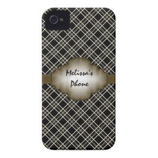Brunt beige fodral för telefon för vintageplädbjör Case-Mate iPhone 4 cases