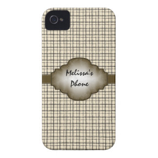 Brunt beige fodral för telefon för vintageplädbjör Case-Mate iPhone 4 skydd