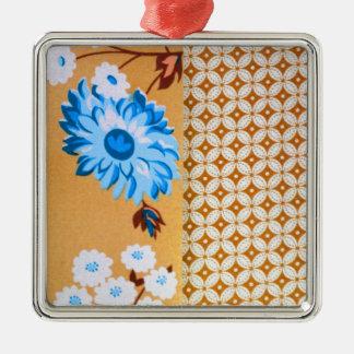 Brunt blom- Quatrefoil för chic flickaktigt Silverfärgad Fyrkantigt Julgransprydnad