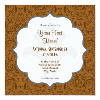 Brunt damastast mönster för vintage fyrkantigt 13,3 cm inbjudningskort