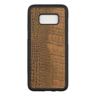 Brunt djur för Vegan för krokodilefterföljdFaux Carved Samsung Galaxy S8 Skal