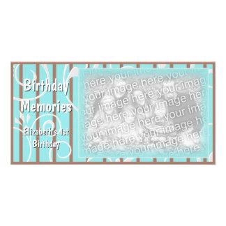 Brunt för blått för kort för foto för födelsedagmi skräddarsydda fotokort