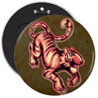 Brunt för lax för tecknad för tigerbabymålning jumbo knapp rund 15.2 cm