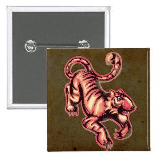 Brunt för lax för tecknad för tigerbabymålning standard kanpp fyrkantig 5.1 cm