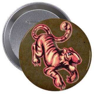 Brunt för lax för tecknad för tigerbabymålning stor knapp rund 10.2 cm