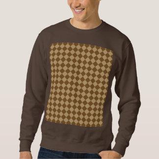 Brunt kombinationsdiamantmönster långärmad tröja