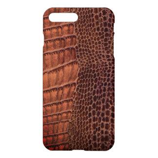Brunt läder för alligatorklassikerreptil (fauxen) iPhone 7 plus skal