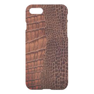 Brunt läder för alligatorklassikerreptil (fauxen) iPhone 7 skal