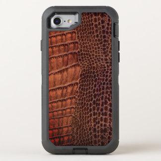 Brunt läder för alligatorklassikerreptil (fauxen) OtterBox defender iPhone 7 skal