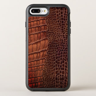 Brunt läder för alligatorklassikerreptil (fauxen) OtterBox symmetry iPhone 7 plus skal
