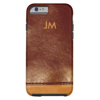 Brunt läder för färgad två med initialer tough iPhone 6 fodral