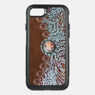 brunt läder för westernt land för turkos bearbetat OtterBox commuter iPhone 7 skal